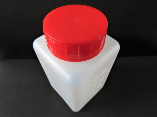 Weithals-Vierkantflaschen HDPE, mit rotem Schraubverschluss und Dichteinlage